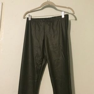 Adrienne Pants - NWT. Olive Green. Faux Leather Leggings.