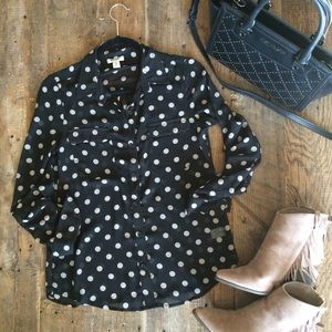 Black and Taupe Polka Dot Sheer Button Up Shirt