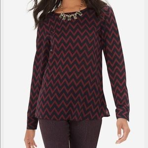 The Limited Chevron Long Sleeve Blouse - XS
