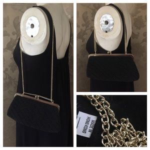 Vintage Black Beaded Kiss-Closure Handbag Clutch