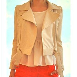 Carven Canvas Cropped Moto Jacket
