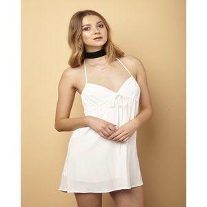 White Halter Front Tie Dress