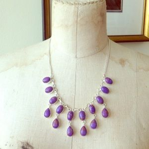 Sterling SilverPurple Turquoise Statement Necklace