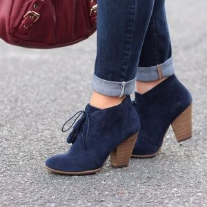 Sole Society Shoes - Sole Society Navy Lace Up Booties
