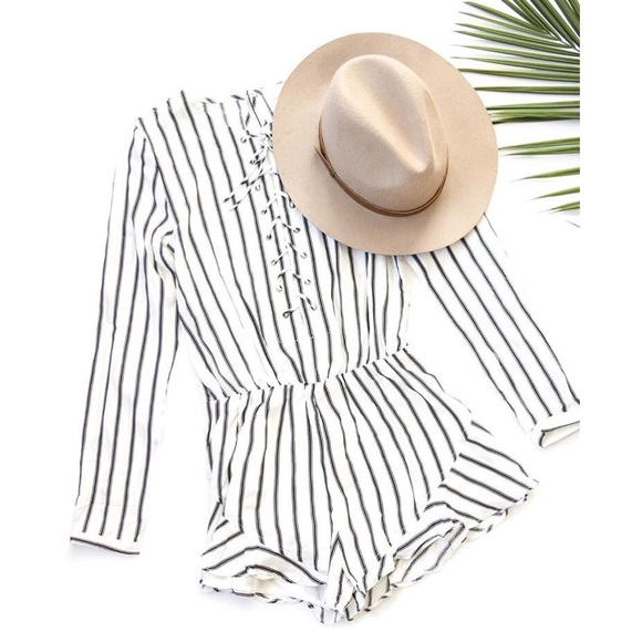 527a9185b4fc White Black Striped Lace Up Ruffle Romper