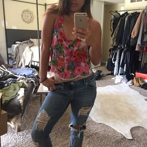 Free People Floral crop buttonup tank with detail