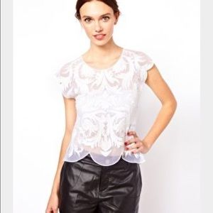 Warehouse Embroidered White Top
