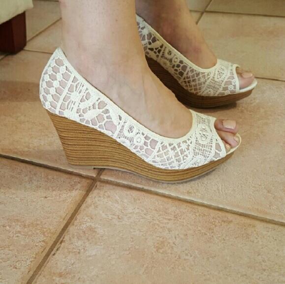 5b0f9e8fd523 American eagle payless shoes ivory crochet peeptoe wedges jpg 580x579  Payless shoes wedges