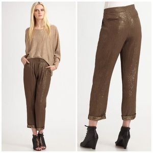 Joie Brown Benigna Sequin Silk Cropped Pants