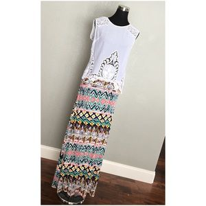 Tribal Multicolor Foldover Maxi Skirt Coverup