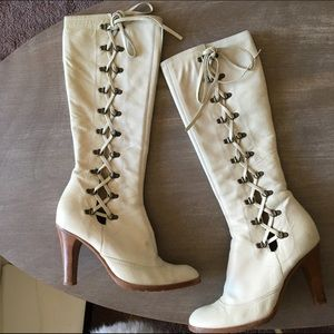 Marc Jacobs Shoes - Lace-Up White Leather Marc Jacobs Boots