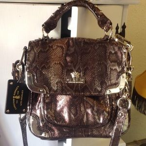Christian Audigier Handbags - Christian Audigier gold snakeskin cross body.NWT💋