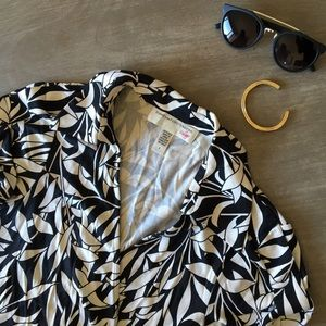 Diane von Furstenberg Tops - Black and White Print DVF Wrap Top