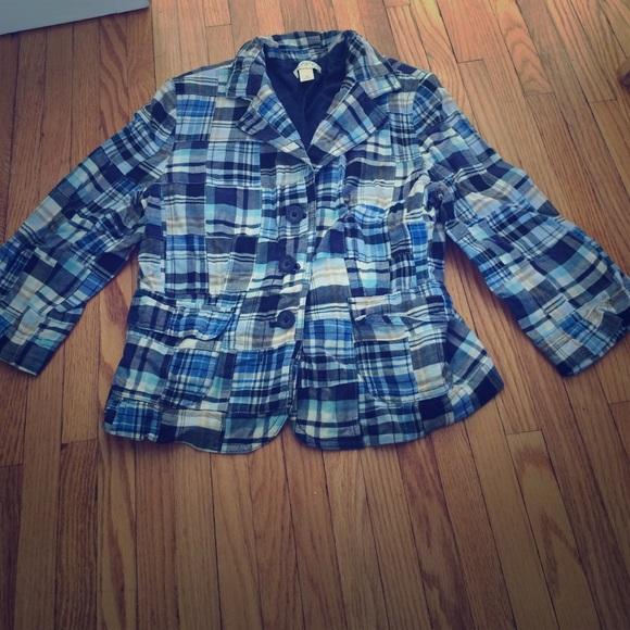 Madras plaid LOFT EUC 10 spring blue blazer