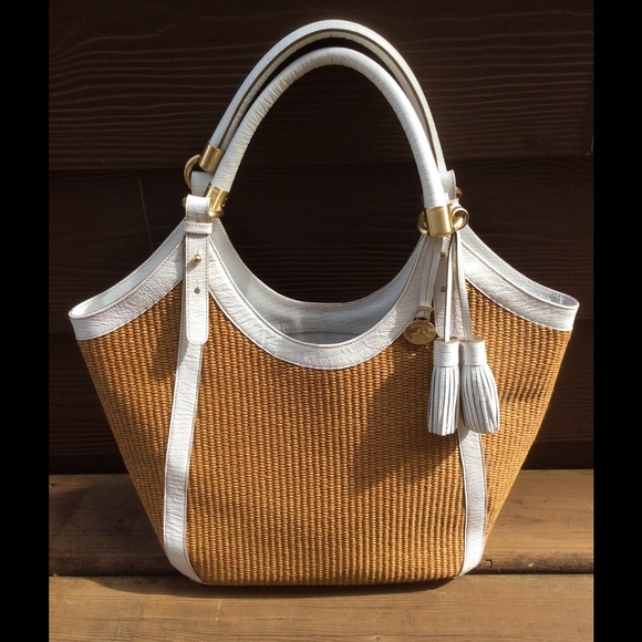82% off Brahmin Handbags - Brahmin white leather and woven straw ...