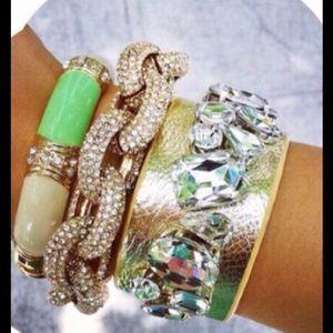 Gold Faux Leather Crystal Bracelet