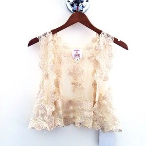 Cream Crochet Woven Vest