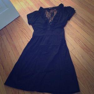 A-line black cap sleeve dress small EUC