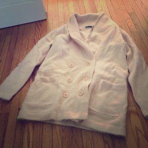 Fuzzy angora pink sweater large EUC