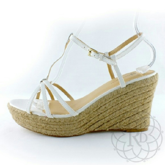 3c1dccf4bcc NEW White Strappy Espadrille Wedges