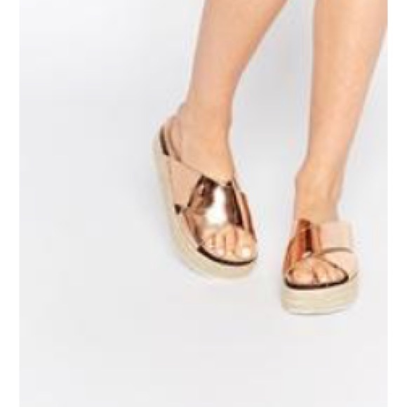 Gold metallic platform sandals