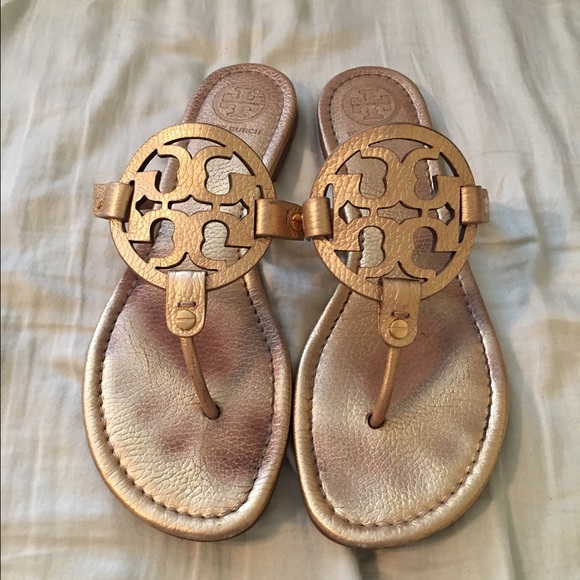 42adc8b1f Tory burch gold Miller sandals 9.5 AUTHENTIC. M 56f7142fc28456256700edc3