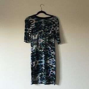 Monki Digital Print Stretchy Dress Body Con