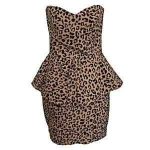 Asos Leopard Print Peplum Dress