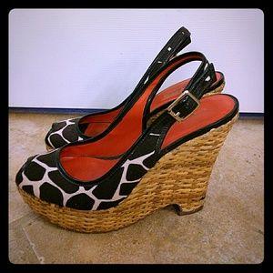 Banana republic zebra print platform wedge shoes