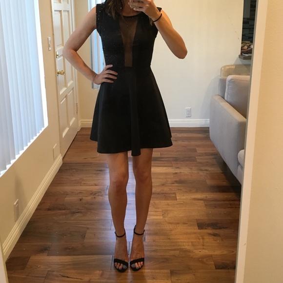 Guess Dresses Black Skater Dress With Sheer Mesh Top Poshmark