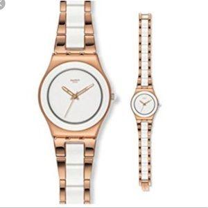 Tresor Blanc white and rose gold watch