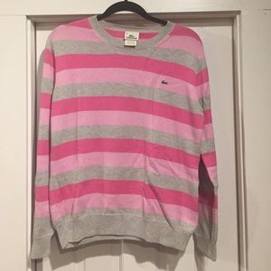 Lacoste cotton stripe crew neck sweater sz L