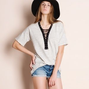 Lace Up Heather Grey Tee / Top