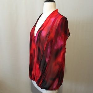 Cynthia Steffe Tops - Cynthia Steffe Pleated Sheer Red Printed Blouse