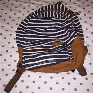 Navy and Cream Striped Backpack