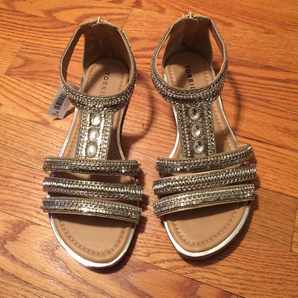 Torrid Silver Beaded Gladiator Sandals
