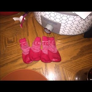 Small RED dog booties . Never worn
