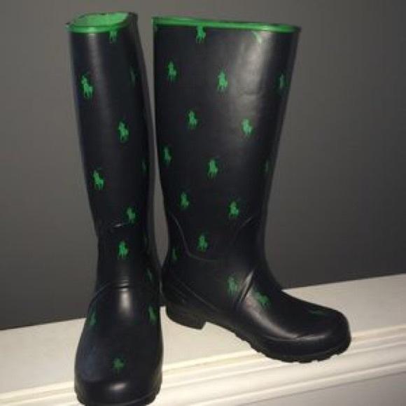 3834c126fae Polo Ralph Lauren Rain Boots Blue & Green NWT