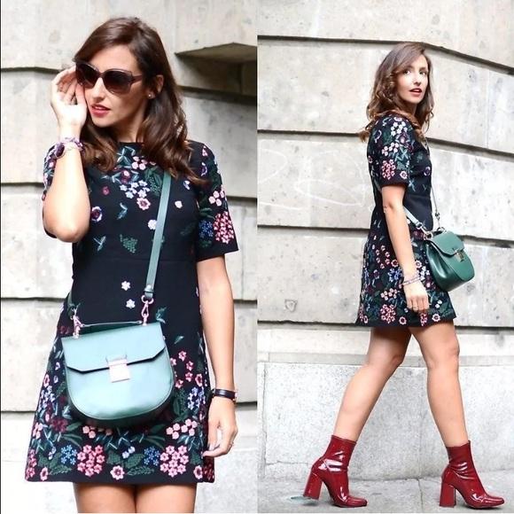 Zara black floral dress