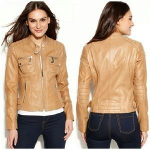 ☆SOLD☆Michael Kors Beige Leather Moto Jacket sz M