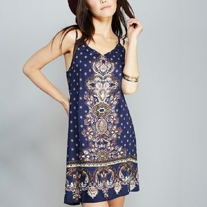 Angie Dresses & Skirts - Navy Border Print Double Strap Slip Dress