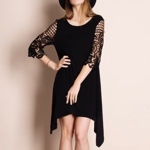 Crochet Sleeve Black Dress