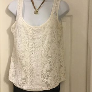 Halo Tops - Halo white lace tank top PA