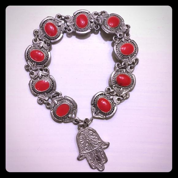 Free People Jewelry Silver Jain Hand Symbol Bracelet Poshmark