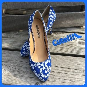 Bumper Shoes - 💙 Blue Flowered Heels! 💙