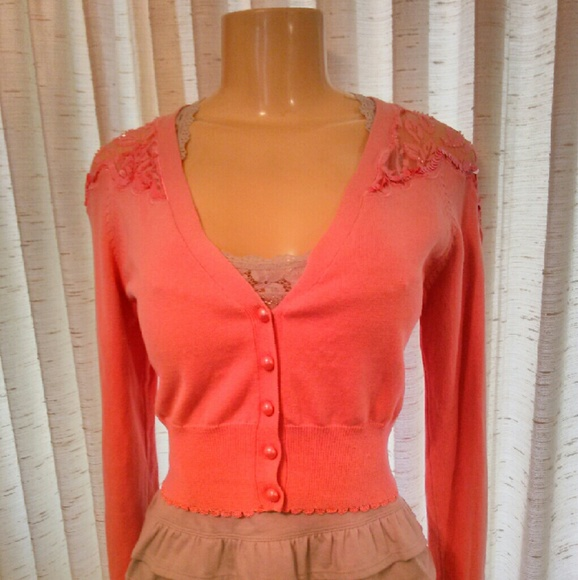 Betsey Johnson - NWOT Betsey Johnson Peach Lace Cardigan from ...