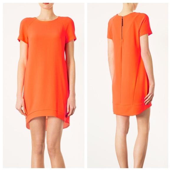 8e835831c79507 Topshop Dresses | Crepe Shift Dress Vibrant Orange | Poshmark
