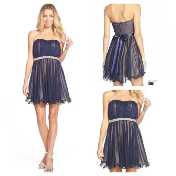 dfa76f22a Sequin Hearts Dresses | Host Pick Navy Sheer Mini Dress 5 | Poshmark