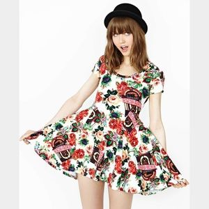JOYRICH Floral Jukebox Music Skater White Dress