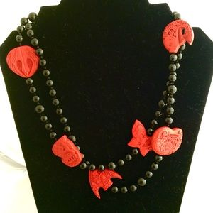 Jewelry - Onyx Beaded Necklace w/Cinnabar Charms + GIFT